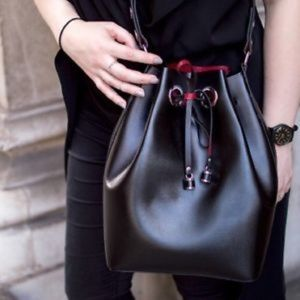 Zara Bucket Bag in Black with Red Interior
